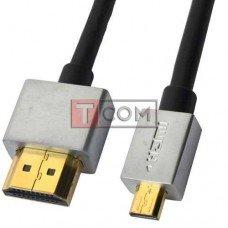 """Шнур HDMI Ultra Slim, штекер HDMI - штекер micro HDMI, Vers-1.4, """"позолоченный"""", Ø4.2мм, 2м, в блистере"""
