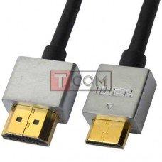 """Шнур HDMI Ultra Slim, штекер HDMI - штекер mini HDMI, Vers-1.4, """"позолоченный"""", Ø4.2мм, 2м, в блистере"""