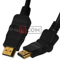 "Шнур HDMI TCOM, штекер HDMI - штекер HDMI, поворотный на 180°, ""позолоченный"", Ø6.0мм, 1.5м, чёрный"