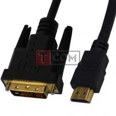 Шнур штекер HDMI - штекер DVI Ø7.3мм, gold, с фильтрами, 3м, чёрный