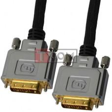 "Шнур DVI (24+1) COMP, штекер DVI - штекер DVI, Hi-Fi, ""позолоченный"", с фильтрами, Ø11мм, 5м, в блистере"