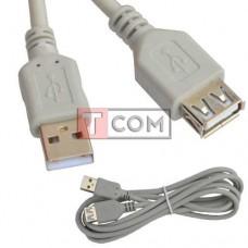 Удлинитель USB TCOM, штекер A - гнездо А, version 2.0, Ø4.5мм, 1м, серый