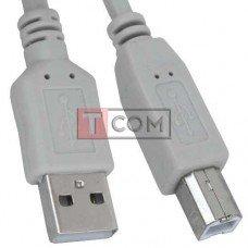Шнур USB TCOM, штекер A - штекер В, Vers- 2.0, Ø4.5мм, 3м, серый