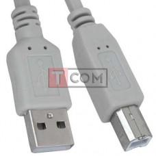 Шнур USB TCOM, штекер A - штекер В, Vers- 2.0, Ø4.5мм, 5м, серый