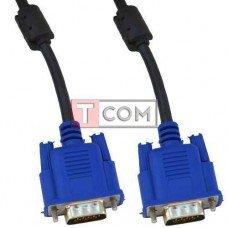 Шнур компьютерный VGA TCOM, штекер HDB 15pin - штекер HDB 15pin, с фильтром, 1м