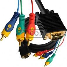 Шнур компьютерный TCOM, штекер VGA 15pin - 3 штекер RCA (RGB), gold, Ø8.0мм, 3м