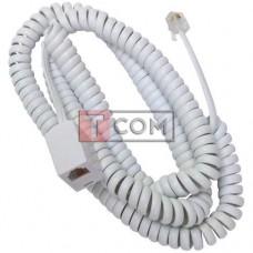 Телефонный удлинитель TCOM витой, штекер телефонный - гнездо телефонное, 6р4с, 6м, белый
