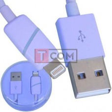 Шнур штекер USB А - штекер Iphone 6, в колбе, 1м, фиолетовый