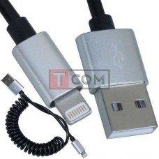 Шнур штекер USB А - штекер Iphone 6, витой, 1м, чёрный, в блистере