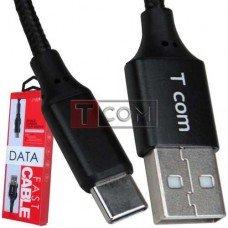 Шнур штекер USB type А - штекер USB type С, сетка, 1м, чёрный