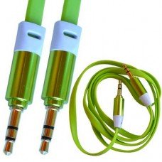 Шнур аудио AUX TCOM, штекер 3.5 стерео - штекер 3.5 стерео, плоский, gold, 1м, зелёный