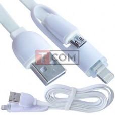 Шнур 2в1 TCOM, штекер USB А - штекер miсroUSB + штекер Iphone6, белый, 1м, в блистере