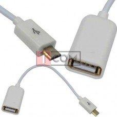 Шнур OTG TCOM, гнездо USB type А - штекер micro USB 5pin, 0.2м