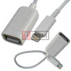 Шнур OTG TCOM, гнездо USB type A - штекер iphone 6, 0.2м