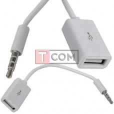 Шнур OTG TCOM, гнездо USB type A - штекер 3.5мм 4С, белый, 0.2м