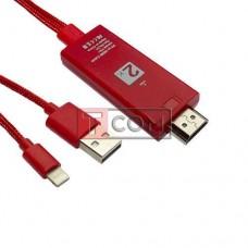 Шнур HDTV 2К TCOM, штекер iPhone linghting - штекер HDMI + штекер USB, 2м+1.2м, в коробке