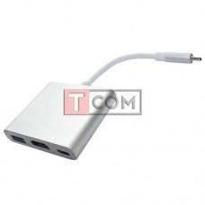Переходник TCOM, штекер USB Type C 3.1 - гнездо USB Type C 3.1 + гнездо HDMI + гнездо USB 3.0