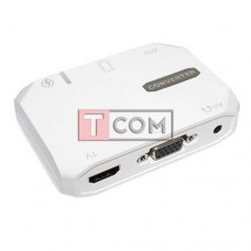Конвертер HDTV 3в1 TCOM, гнездо USB А + гнездо 3.5мм - гнездо HDMI + гнездо VGA + гнездо AV 3.5мм, в коробке