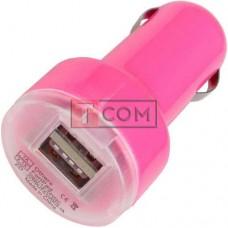 Автомобильная зарядка 2хUSB, 1A+2,1А, розовая