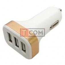 Автомобильная зарядка TCOM, 3 USB 2.1А, пластик, бело-золотистая