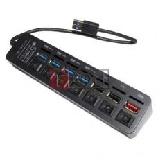 USB-Hub на 7 портов iETOP, USB3.0/2.0, с выключателями, черный