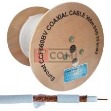 Кабель коаксиальный RG-6 (CCF660BV CCA) EUROSAT, одножильный, Cu, 64%, белый, 305м