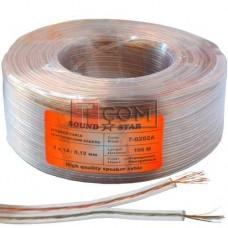 Кабель акустический Sound Star, CCA, 2х0.16мм², прозрачный, 100м