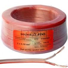 Кабель акустический Sound Star, CCA, 2х0.10мм², прозрачный, 100м