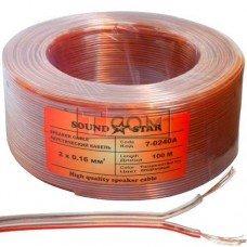 Кабель акустический Sound Star, CCA, 2х0,16мм², прозрачно-розовый, 100м