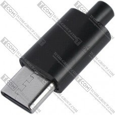 Штекер USB type C, под шнур, пластик, чёрный