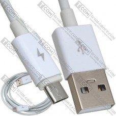 Шнур штекер USB А - штекер micro USB, Ø3мм, 2м, белый