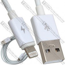 Шнур штекер USB А - штекер Iphone 6, Ø 3мм, 2м, белый