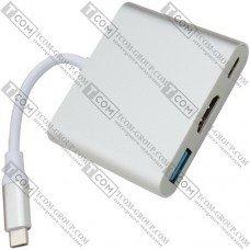 Переходник Type C 3.1 HUB (гнездо USB type C 3.1 + гнездо HDMI + гнездо USB 3.0)