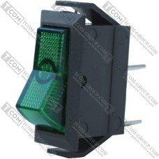 Переключатель узкий с подсветкой IRS-101-1С ON-OFF TCOM, 2pin, 15A, 220V, зелёный